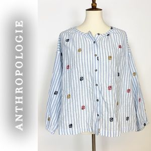 Oversized Blue Striped ANTHRO Blouse